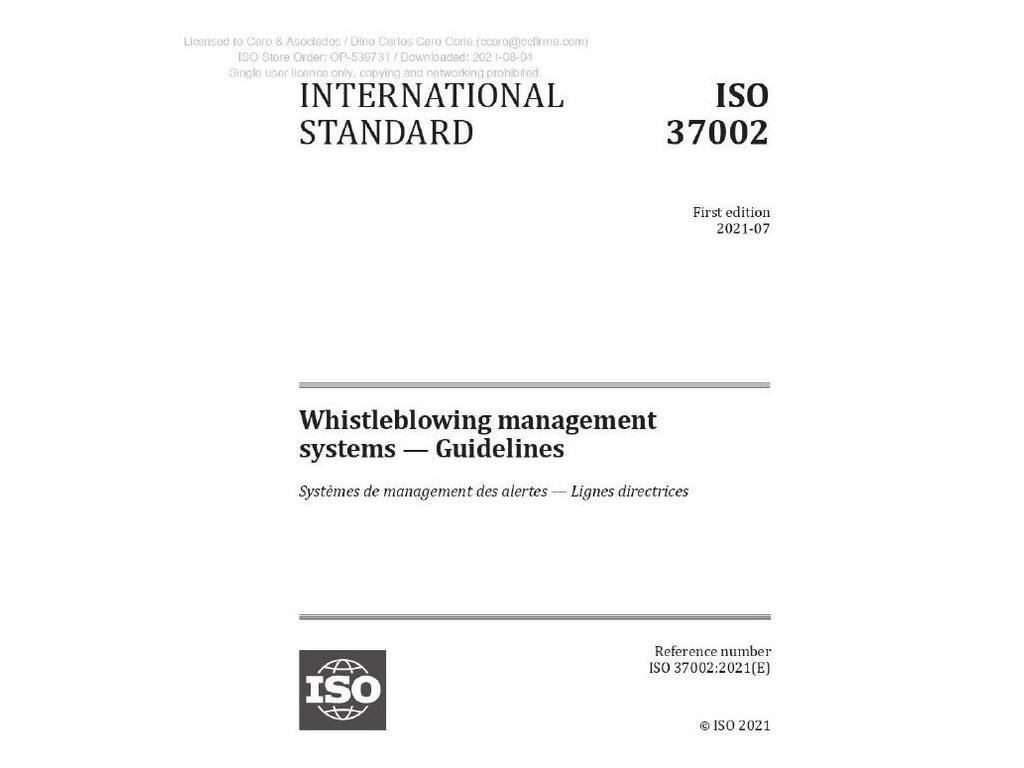 Whistleblowing: la nueva ISO 37002 sobre canales de denuncia