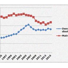 El número de demandas de disolución matrimonial en España se sitúa en torno a las 120.000 anuales