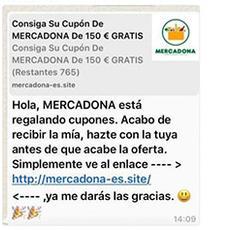 ¡Cuidado con el nuevo engaño! Mercadona no regala 150€ en WhatsApp